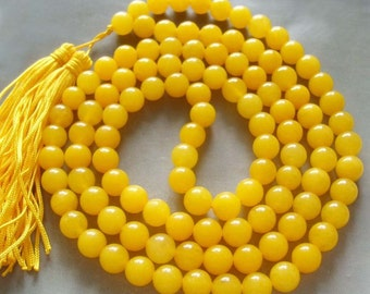 Tibetan Buddhist Yellow Stone Meditation Yoga Mantras 108 Prayer Beads Mala Necklace 8mm  ZZ098