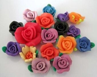 17Pcs Buccaro Fine Earthenware Flower Beads Finding  ja0058