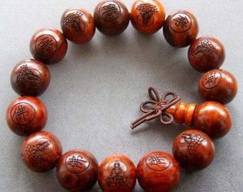 15mm Rosewood Kwan-Yin FO Beads Buddhist Prayer Bracelet Wrist Mala  T1831