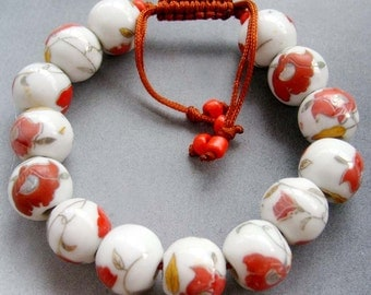 12mm Hand Painted Flower Chinese Porcelain Beads Bracelet  T1872