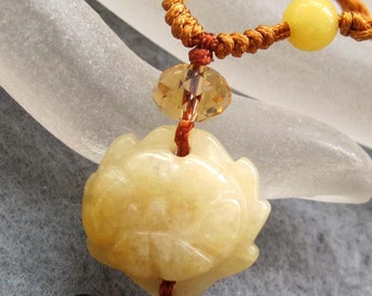 Yellow Stone Carved Flower Bead Pendant Knitted String Necklace 20mm x 18mm  T2558