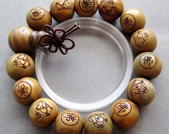 15mm Big Green Sandalwood Wood Tibet Buddhist Buddha Prayer Beads Beaded Mala Bracelet FO   T2609