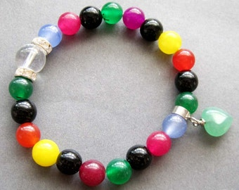 8mm Round Crystal Quartz Multi-Color Stone Beads Stretchy Bracelet With Heart  T2612