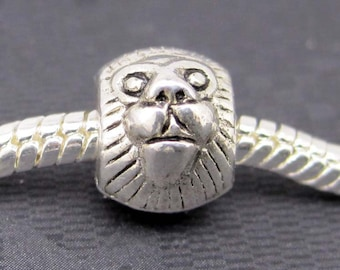 20Pcs Silver Tone Alloy Metal Male Lion Head Charm Beads Finding--20Pieces--12mm x 4mm  ja0074