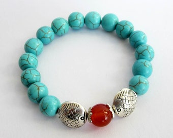 Stretchy Imitate Howlite Turquoise Twin Silver Tone Metal Fishes Focal Red Agate Bracelet  T2625