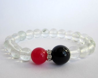 Stretchy Focal Red Black Agate Gemstone Clear Glass Beads Bracelet   T2626