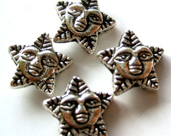 20Pcs/20Pieces Silver-Tone Alloy Metal Star Leaf Human Face Beads Link Finding 10mm x 10mm  ja170