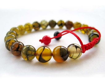8mm Dragon Skin Agate Beads Red String Tibetan Buddhist Wrist Mala Bracelet For Meditation  T2666