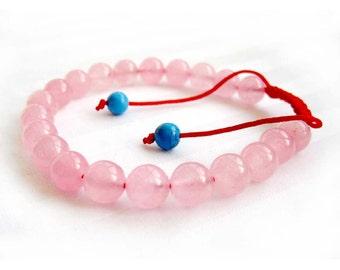8mm Light Pink Stone Round Beads Tibet Buddhist Wrist Mala Bracelet For Meditaion  T2673
