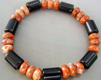Agate Pillar Column And Natural Stone Circle Beads Stretchy Bracelet  T0769