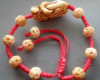 Ox Bone Carved Dragon-Head Bead Beads Bracelet  T1965