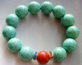 Focal Red Stone Big Imitate Blue Howlite Turquoise Round Beads Bracelet  T1674