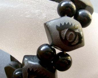 Tibetan Agate Eye Beads Bracelet  T1743