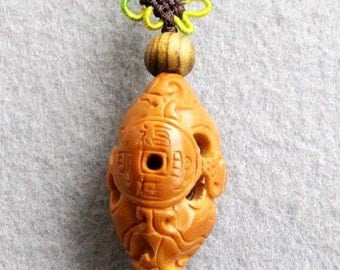 Olive-Pit Carved Fortune Bat Coin Amulet Talisman Bead Pendant  T2316