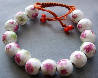 12mm Hand Crafted Flower Porcelain Beads Bracelet  T2126