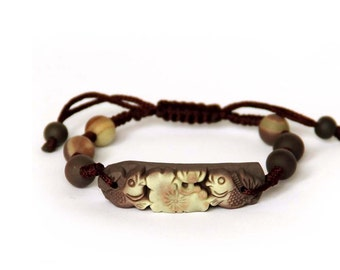 Handmade Zipao Jade Twin Prosperous Fishes Lotus-Leaf Bead Beads Knot Adjustable Bracelet With Brown String  T2685