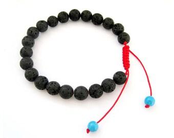 8mm Volcano Stone Beads Tibet Buddhist Wrist Mala Beaded Bracelet For Meditation---Length In 160-240mm  T2702