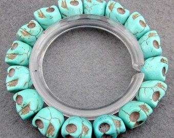 12mm Imitate Blue Turquoise Carved Skull Head Beads Stretchy Bracelet Hand String  T2360