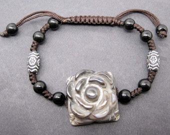 Tibetan Eye Old Agate Gem Flower Leaf Gemstone Bead Beads Knotted Bracelet  T2467