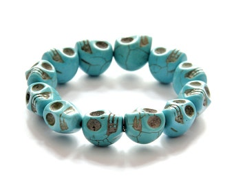 12 Big Imitate Blue Turquoise Carved Skull Head Beads Stretchy Charm Bracelet 17mm x 14mm T2743