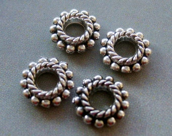 40Pcs Alloy Metal Flower Style Rondelle Big Hole Beads Finding--40Pieces--8mm x 8mm  ja219