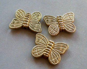 18Pcs Coated-Copper Alloy Metal Butterfly Beads Supplier Fitting Jewelry Finding--18Pieces--14mm x 10mm  ja229