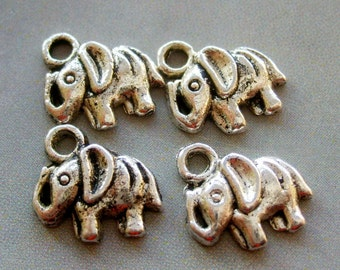 30Pcs Alloy Metal Long Nose Elephant Pendant Loose Beads Jewelry Finding--30Pieces--12mm x 11mm   ja231