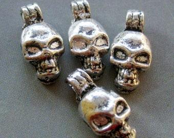 20Pcs Alloy Metal Skull-Head Pendant Beads Loose 20Pieces Spacer DIY Finding 16mm x 8mm  ja232