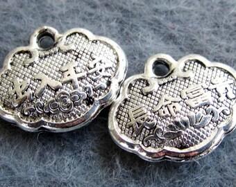 30Pcs/30Pieces Alloy Metal Chu-Ru-Ping-An Chang-Ming-Fu-Gui Long Life Lock Style 2Faces Pendant Beads Finding 14mm x 11mm x 4mm  ja323