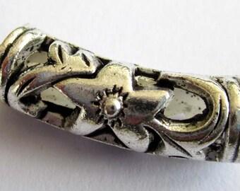 20Pcs/20Pieces Alloy Metal Big Hole Hollow Bent Tube Beads Loose Finding 21mm x 7mm  ja348