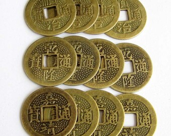 20Pcs/20Pieces Copper-Coated Alloy Metal Vintage Coin Style Beads Finding For Handwork 25mm x 25mm   ja383