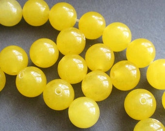 8mm 20Pcs/20Pieces Round Light Yellow Agate Gem Gemstone Loose Beads Finding For Handwork  ja394