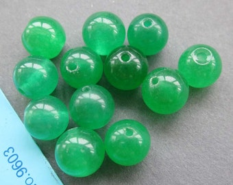8mm 20Pcs/20Pieces Green Malay Jade Gemstone Sphere Loose Beads Accessories Finding  ja403