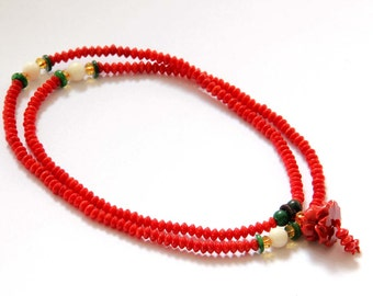 Tibet Buddhist 216 Red Coral Beads Prayer Mala With Lotus Pendant  ZZ158