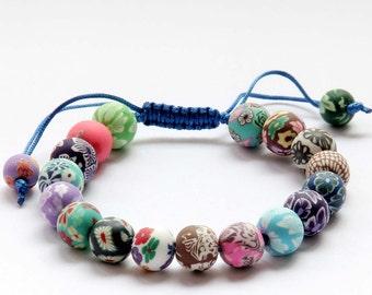 10mm Multi-Color Fimo Floral Flower Beads Adjustable Bracelet Charm  T2769