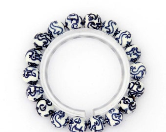 10mm Vintage Style Round White And Blue Porcelain Ceramic Beads Stretchy Bracelet Hand String  T2796