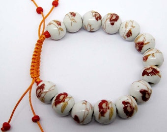 12mm Hand Crafted Flower Leaf Porcelain Beads Bracelet  T2140