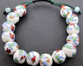 12mm Handmade Floral Flower Leaf Porcelain Ceramic Beads Adjustable Bracelet  T2143