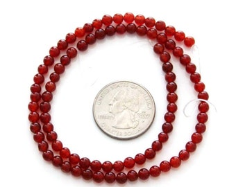 4mm One Full Strand Round Blood Red Color stone Beads For Handwork--90Pieces  ja468