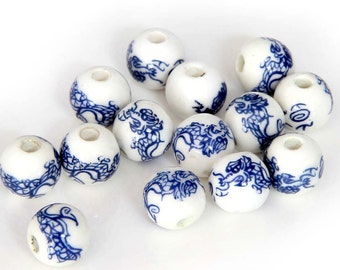 10mm 15Pcs Porcelain Dragon Beads Finding  ja471