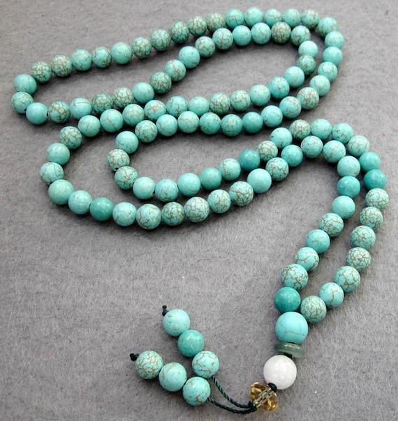 108  Tibet Howlite 6mm Imitate Blue Turquoise Charm Buddhist Prayer Beads Japas Mala  ZZ066