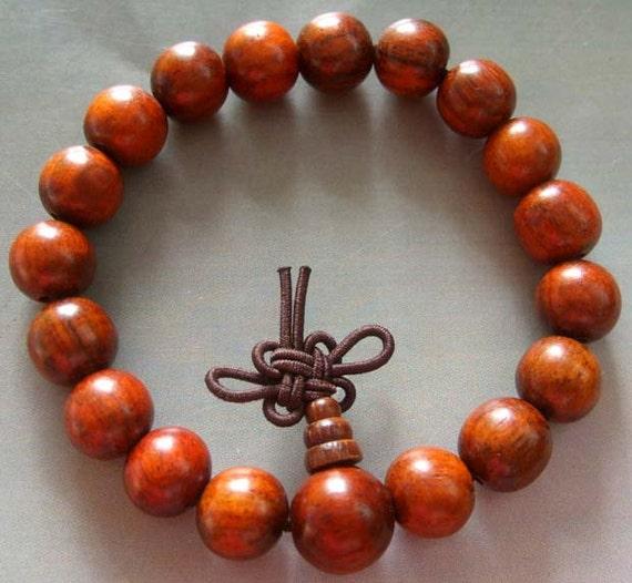 10mm Rosewood Beads Tibet Buddhist Wrist Japa Mala Bracelet For Meditation/Big Stretchy  T1213