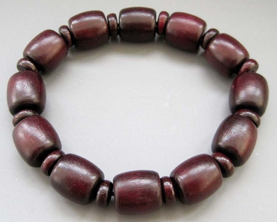 Wood Beads Barrel Cask Shape Stretchy Bracelet  T2598