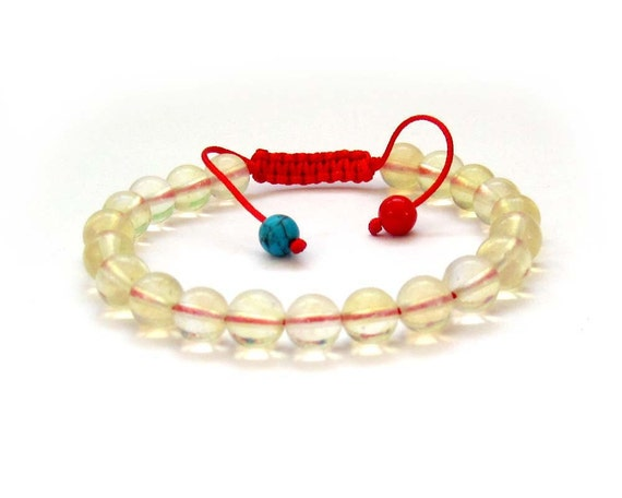 8mm Round Stone Beads Tibet Buddhist Wrist Mala Bracelet For Meditaiton With Red Adjustable String/Length In 160mm-240mm  T2700