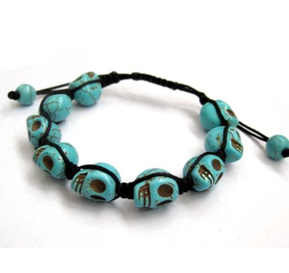 Adjustable Imitate Blue Turquoise Carved Skull Pave Macrame Handmade Beads Bracelet  T2773