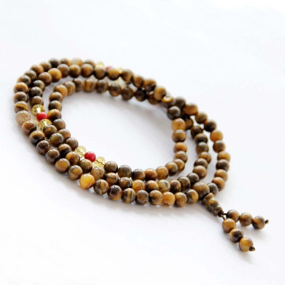 6mm 108 Yellow Tiger Eye Gemstone Charm Beaded Tibet Buddhist Prayer Beads Mala Rosary  ZZ162