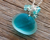 Sea Glass Jewelry Aqua andWhite End of Day Necklace Sterling Silver