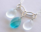 Sea Glass Jewelry Aqua Teal End of Day Multi Necklace Sterling Silver