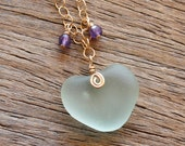 RESEVED for Bob Sea Glass Necklace Sea Foam Green Heart Amethyst Sterling Silver