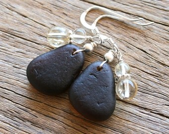 Sea Glass Jewelry Brown Earrings Citrine Sterling Silver